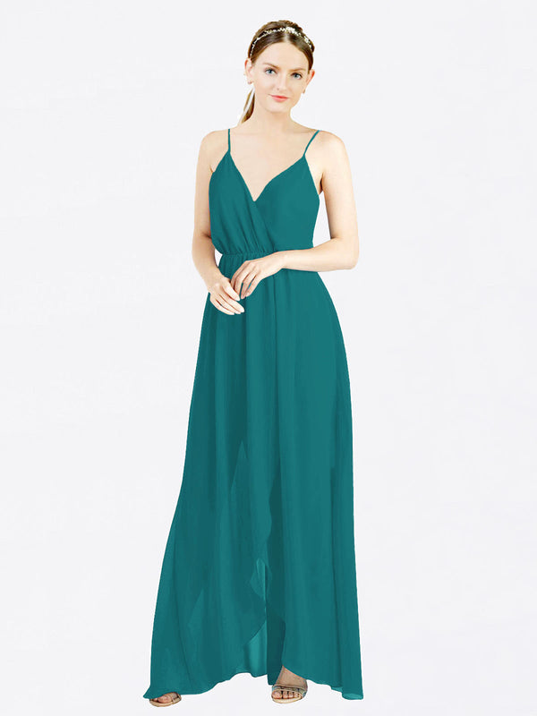 Hunter A-Line V-Neck Spaghetti Straps Sleeveless Long Chiffon Bridesmaid Dress Melania
