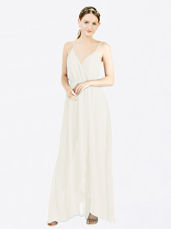Mila Queen Melania Bridesmaid Dress Ivory - A-Line V-Neck Spaghetti Straps Long Bridesmaid Gown Melania in Ivory