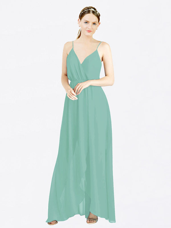 Mila Queen Melania Bridesmaid Dress Jade - A-Line V-Neck Spaghetti Straps Long Bridesmaid Gown Melania in Jade