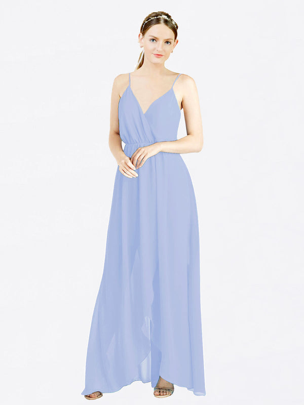 Lavender A-Line V-Neck Spaghetti Straps Sleeveless Long Chiffon Bridesmaid Dress Melania