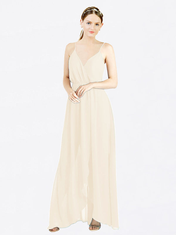 Mila Queen Melania Bridesmaid Dress Light Champagne - A-Line V-Neck Spaghetti Straps Long Bridesmaid Gown Melania in Light Champagne