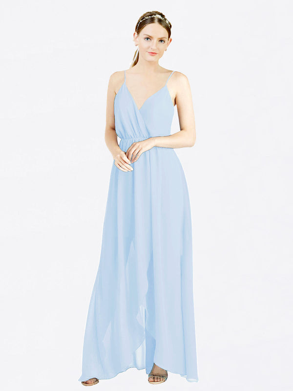 Mila Queen Melania Bridesmaid Dress Light Sky Blue - A-Line V-Neck Spaghetti Straps Long Bridesmaid Gown Melania in Light Sky Blue