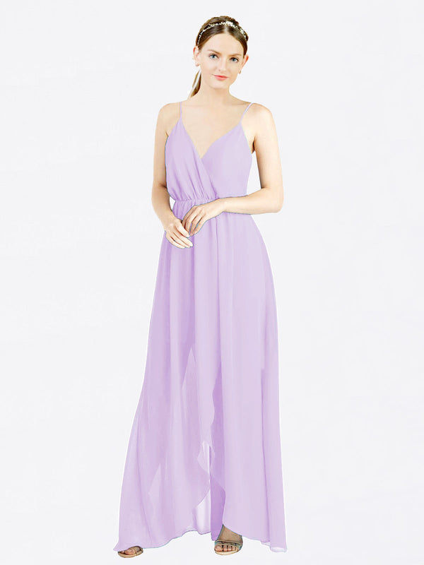 Lilac A-Line V-Neck Spaghetti Straps Sleeveless Long Chiffon Bridesmaid Dress Melania