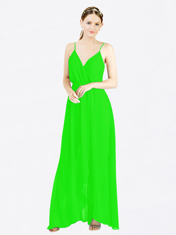 Lime Green A-Line V-Neck Spaghetti Straps Sleeveless Long Chiffon Bridesmaid Dress Melania