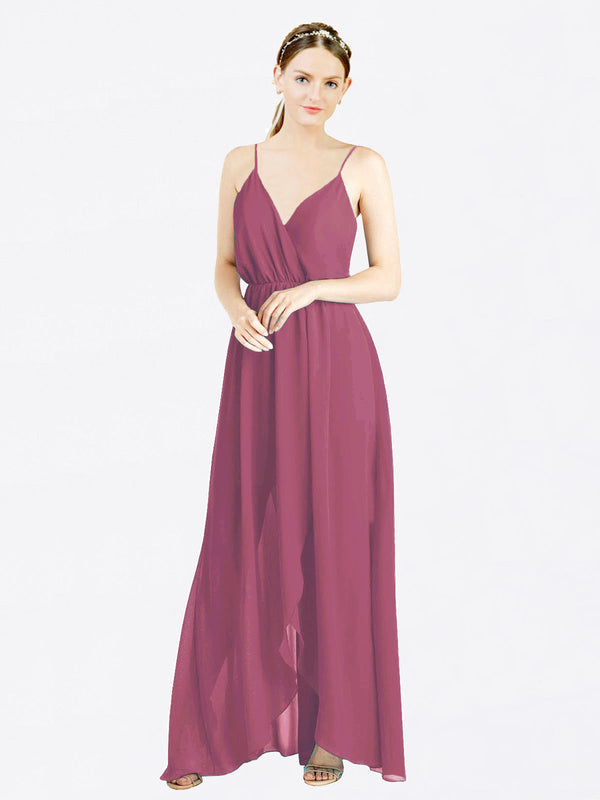Mauve Taupe A-Line V-Neck Spaghetti Straps Sleeveless Long Chiffon Bridesmaid Dress Melania