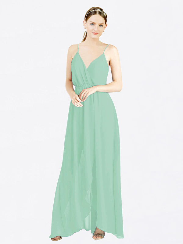 Mint Green A-Line V-Neck Spaghetti Straps Sleeveless Long Chiffon Bridesmaid Dress Melania