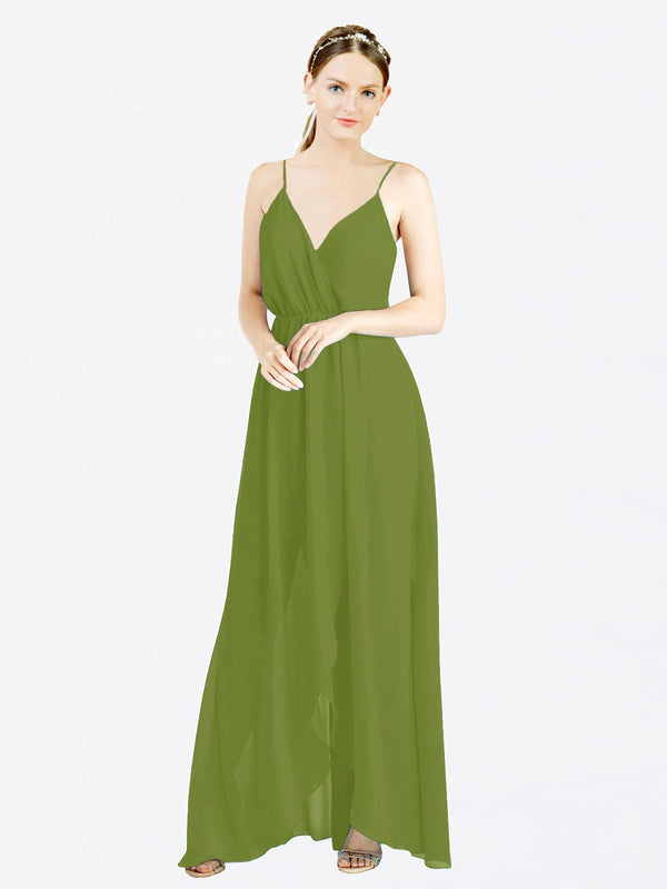 Olive Green A-Line V-Neck Spaghetti Straps Sleeveless Long Chiffon Bridesmaid Dress Melania