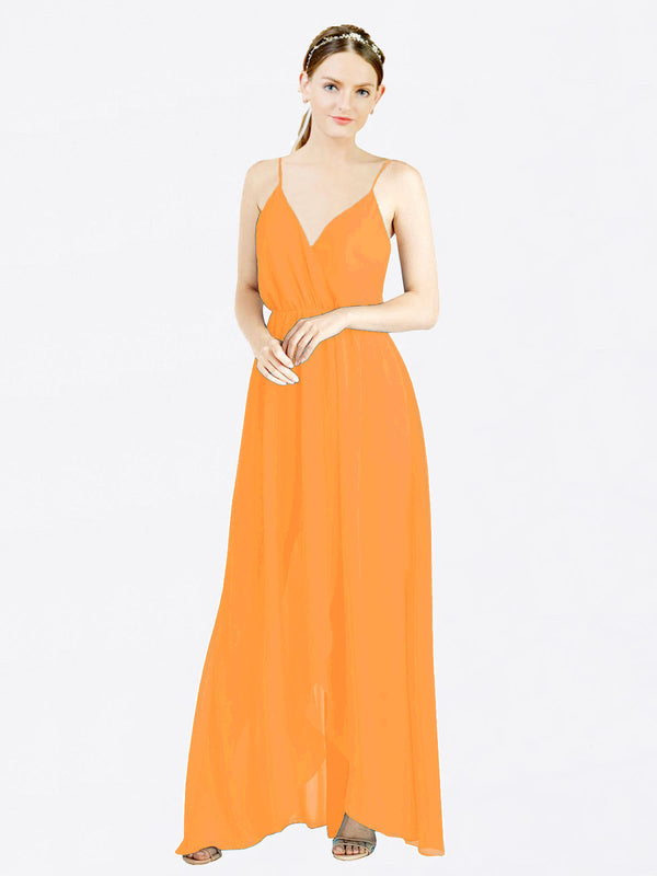 Orange A-Line V-Neck Spaghetti Straps Sleeveless Long Chiffon Bridesmaid Dress Melania