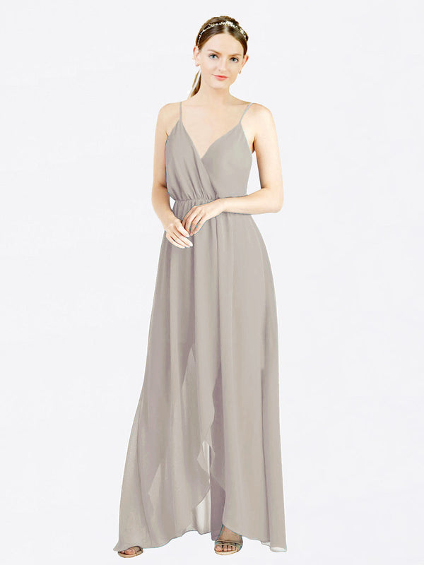 Oyster Silver A-Line V-Neck Spaghetti Straps Sleeveless Long Chiffon Bridesmaid Dress Melania
