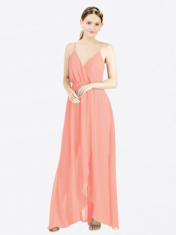 Peach A-Line V-Neck Spaghetti Straps Sleeveless Long Chiffon Bridesmaid Dress Melania