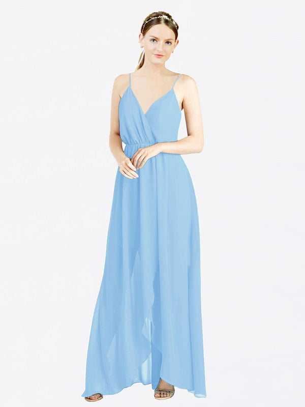 Periwinkle A-Line V-Neck Spaghetti Straps Sleeveless Long Chiffon Bridesmaid Dress Melania