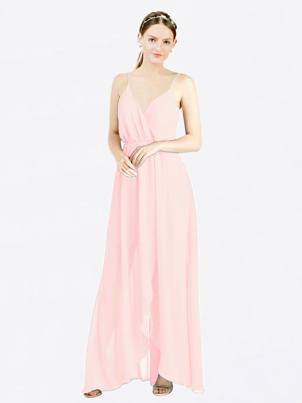 Pink A-Line V-Neck Spaghetti Straps Sleeveless Long Chiffon Bridesmaid Dress Melania