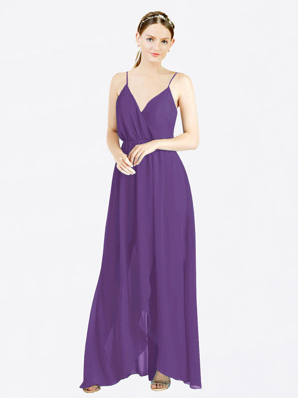 Plum Purple A-Line V-Neck Spaghetti Straps Sleeveless Long Chiffon Bridesmaid Dress Melania