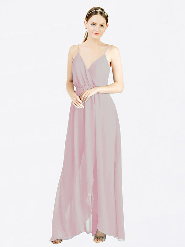 Primrose A-Line V-Neck Spaghetti Straps Sleeveless Long Chiffon Bridesmaid Dress Melania