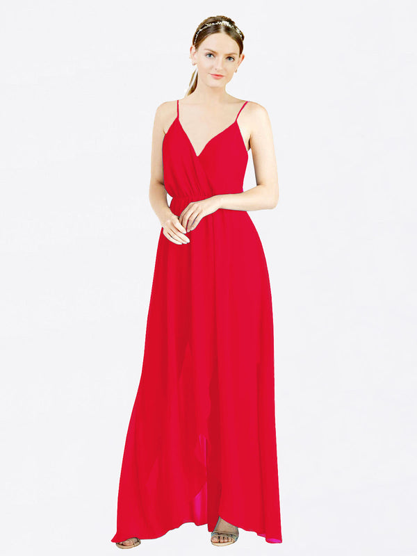 Red A-Line V-Neck Spaghetti Straps Sleeveless Long Chiffon Bridesmaid Dress Melania