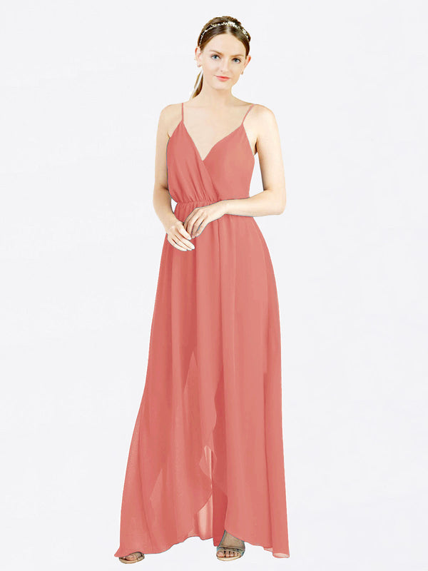Rosewood A-Line V-Neck Spaghetti Straps Sleeveless Long Chiffon Bridesmaid Dress Melania