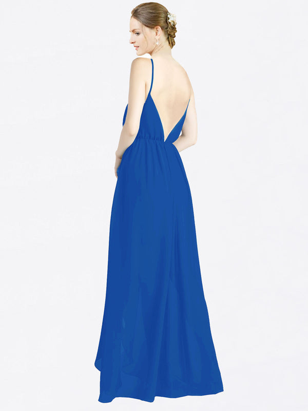Royal Blue A-Line V-Neck Spaghetti Straps Sleeveless Long Chiffon Bridesmaid Dress Melania