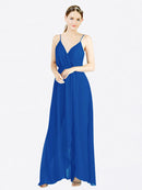 Mila Queen Melania Bridesmaid Dress Royal Blue - A-Line V-Neck Spaghetti Straps Long Bridesmaid Gown Melania in Royal Blue