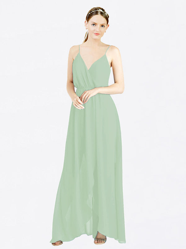 Sage A-Line V-Neck Spaghetti Straps Sleeveless Long Chiffon Bridesmaid Dress Melania