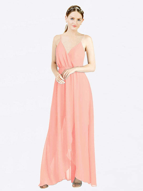 Salmon A-Line V-Neck Spaghetti Straps Sleeveless Long Chiffon Bridesmaid Dress Melania