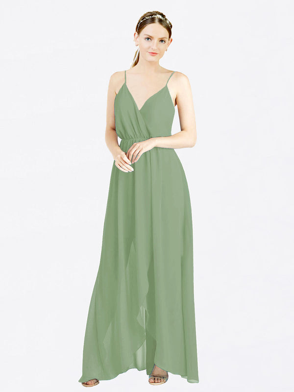 Mila Queen Melania Bridesmaid Dress Seagrass - A-Line V-Neck Spaghetti Straps Long Bridesmaid Gown Melania in Seagrass