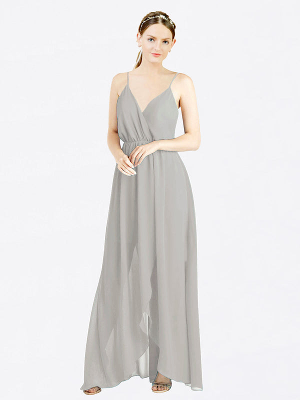 Silver A-Line V-Neck Spaghetti Straps Sleeveless Long Chiffon Bridesmaid Dress Melania