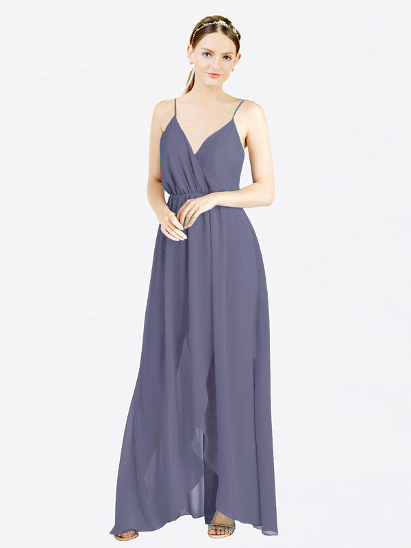 Silver Stone A-Line V-Neck Spaghetti Straps Sleeveless Long Chiffon Bridesmaid Dress Melania