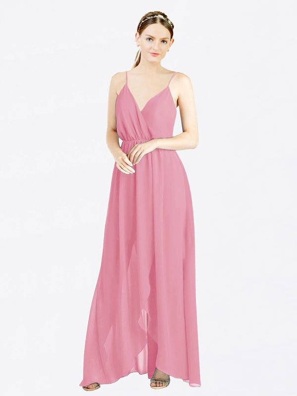Skin Pink A-Line V-Neck Spaghetti Straps Sleeveless Long Chiffon Bridesmaid Dress Melania