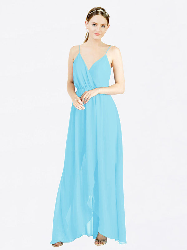 Sky Blue A-Line V-Neck Spaghetti Straps Sleeveless Long Chiffon Bridesmaid Dress Melania