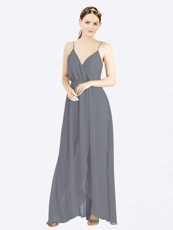 Slate Grey A-Line V-Neck Spaghetti Straps Sleeveless Long Chiffon Bridesmaid Dress Melania