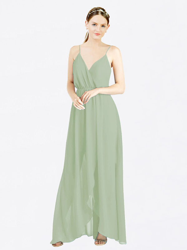 Smoke Green A-Line V-Neck Spaghetti Straps Sleeveless Long Chiffon Bridesmaid Dress Melania