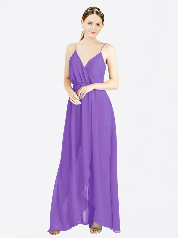Tahiti A-Line V-Neck Spaghetti Straps Sleeveless Long Chiffon Bridesmaid Dress Melania