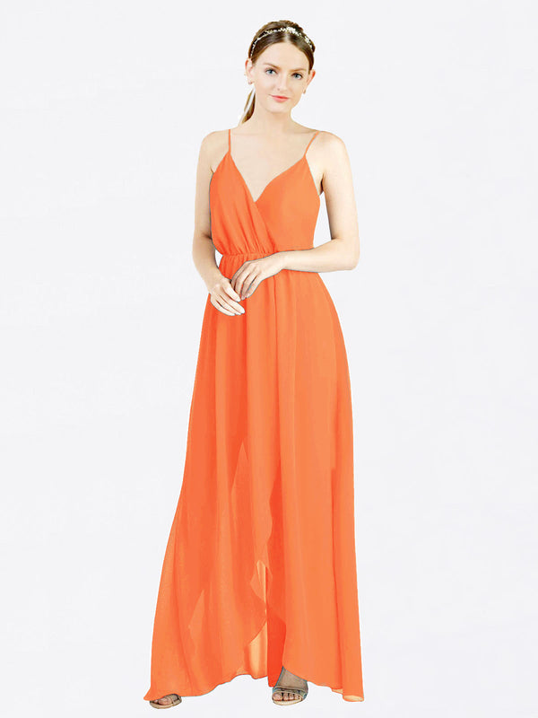 Tangerine Tango A-Line V-Neck Spaghetti Straps Sleeveless Long Chiffon Bridesmaid Dress Melania