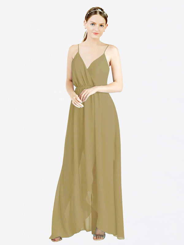 Topaz A-Line V-Neck Spaghetti Straps Sleeveless Long Chiffon Bridesmaid Dress Melania