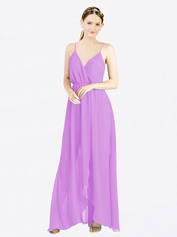 Violet A-Line V-Neck Spaghetti Straps Sleeveless Long Chiffon Bridesmaid Dress Melania