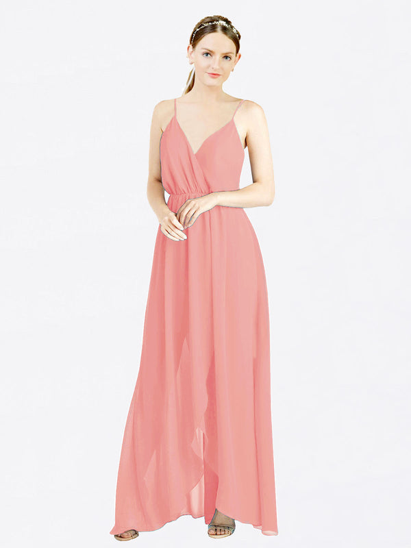 Watermelon A-Line V-Neck Spaghetti Straps Sleeveless Long Chiffon Bridesmaid Dress Melania