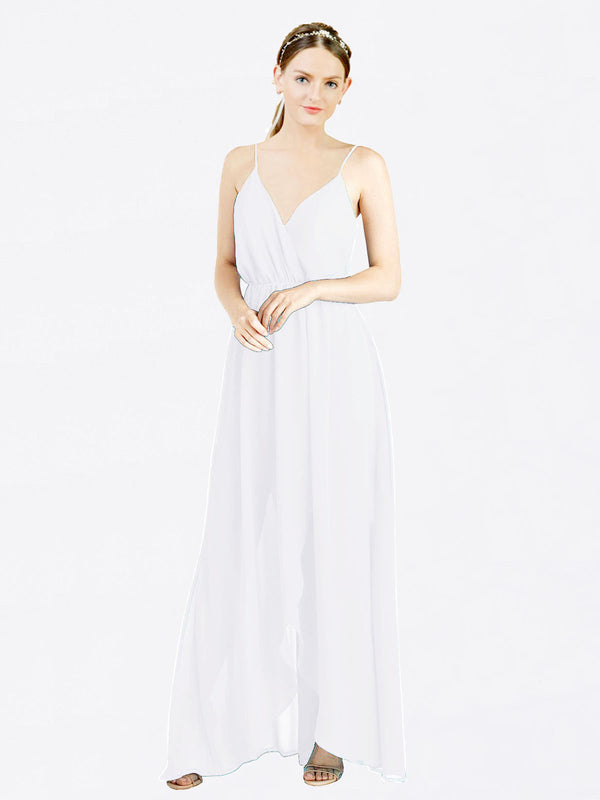 White A-Line V-Neck Spaghetti Straps Sleeveless Long Chiffon Bridesmaid Dress Melania