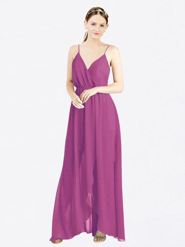 Wild Berry A-Line V-Neck Spaghetti Straps Sleeveless Long Chiffon Bridesmaid Dress Melania