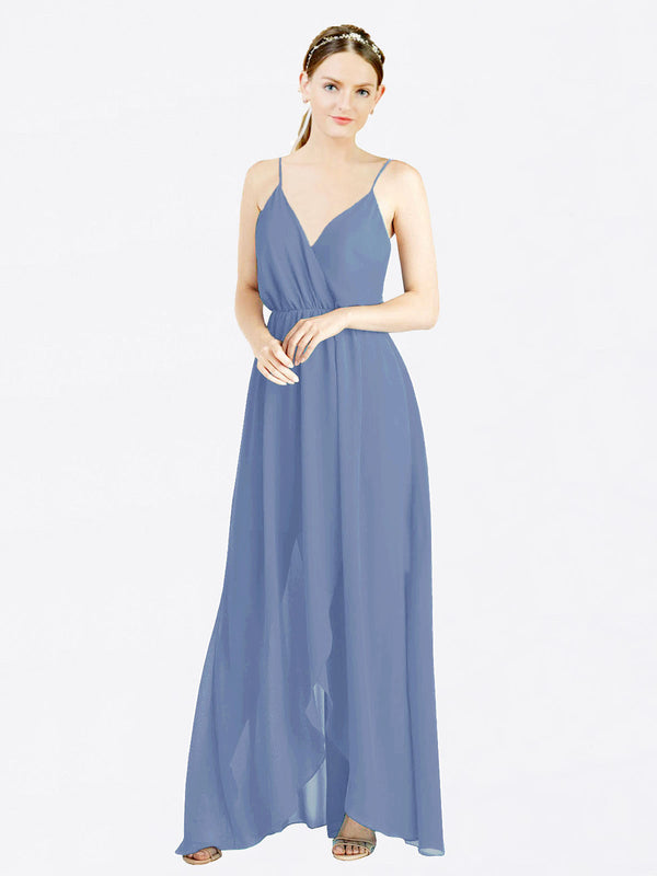 Windsor Blue A-Line V-Neck Spaghetti Straps Sleeveless Long Chiffon Bridesmaid Dress Melania