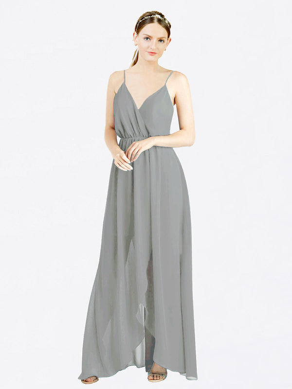 Wisteria A-Line V-Neck Spaghetti Straps Sleeveless Long Chiffon Bridesmaid Dress Melania