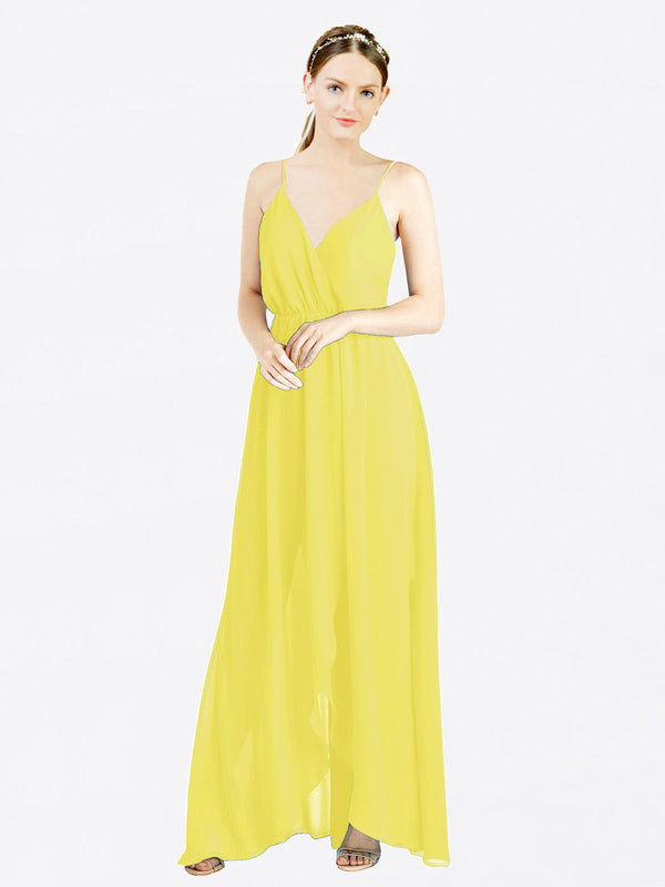 Mila Queen Melania Bridesmaid Dress Yellow - A-Line V-Neck Spaghetti Straps Long Bridesmaid Gown Melania in Yellow