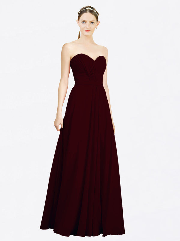 Mila Queen Jazlynn Bridesmaid Dress Burgundy Gold - A-Line Sweetheart Long Bridesmaid Gown Jazlynn in Burgundy Gold