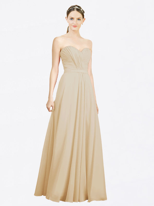 Mila Queen Jazlynn Bridesmaid Dress Champagne - A-Line Sweetheart Long Bridesmaid Gown Jazlynn in Champagne