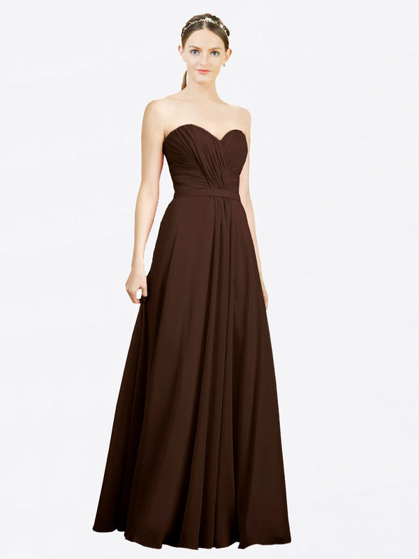 Mila Queen Jazlynn Bridesmaid Dress Chocolate - A-Line Sweetheart Long Bridesmaid Gown Jazlynn in Chocolate