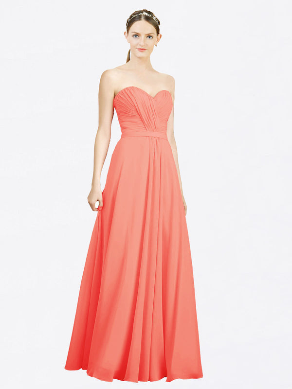 Mila Queen Jazlynn Bridesmaid Dress Coral - A-Line Sweetheart Long Bridesmaid Gown Jazlynn in Coral
