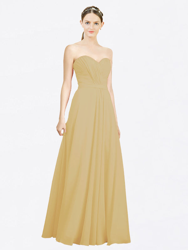 Mila Queen Jazlynn Bridesmaid Dress Gold - A-Line Sweetheart Long Bridesmaid Gown Jazlynn in Gold