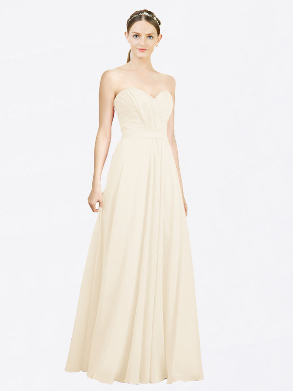 Mila Queen Jazlynn Bridesmaid Dress Light Champagne - A-Line Sweetheart Long Bridesmaid Gown Jazlynn in Light Champagne
