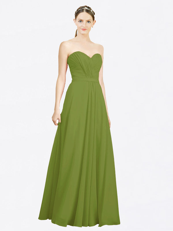 Mila Queen Jazlynn Bridesmaid Dress Olive Green - A-Line Sweetheart Long Bridesmaid Gown Jazlynn in Olive Green