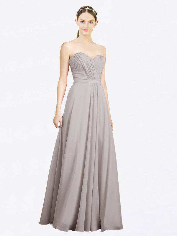 Mila Queen Jazlynn Bridesmaid Dress Oyster Silver - A-Line Sweetheart Long Bridesmaid Gown Jazlynn in Oyster Silver