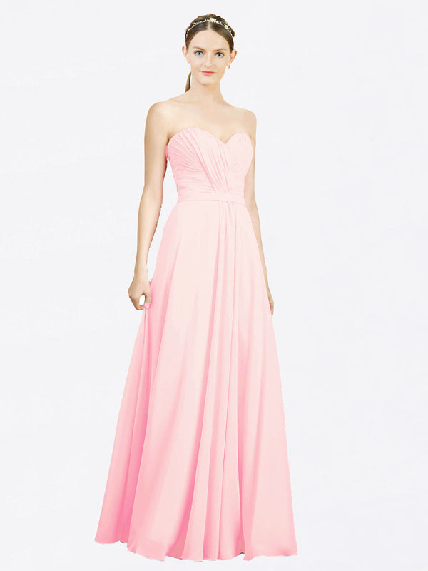 Mila Queen Jazlynn Bridesmaid Dress Pink - A-Line Sweetheart Long Bridesmaid Gown Jazlynn in Pink